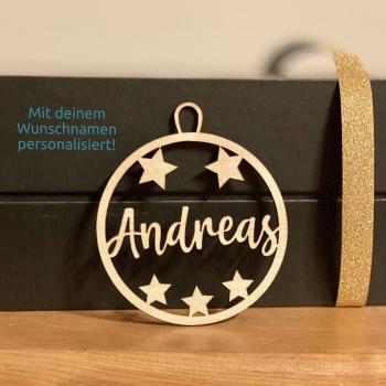 Geschenkanhänger / Christbaumanhänger mit deinem Wunschnamen personalisiert