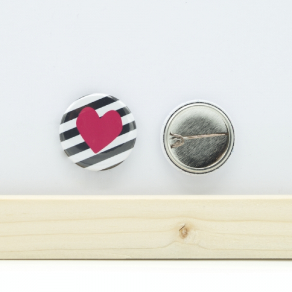 Button Herz pink 25mm